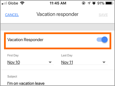 Gmail App Menu Settings Gmail Account Vacation Responder Switch