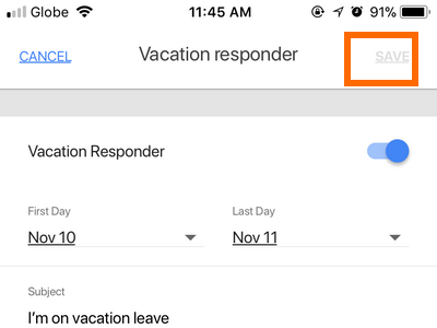 Gmail App Menu Settings Gmail Account Vacation Save button