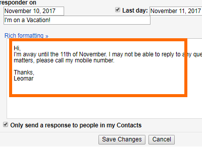 Gmail Settings Vacation Responder Input Message