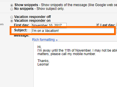 Gmail Settings Vacation Responder Input subject