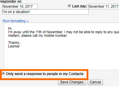 Gmail Settings Vacation Responder Only Send to My contacts