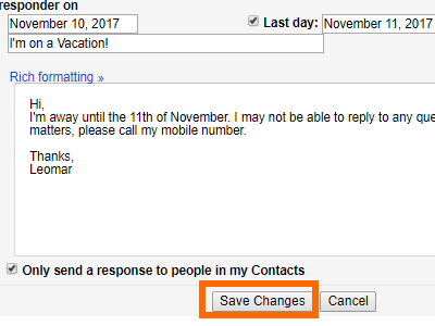Gmail Settings Vacation Responder Save Changes
