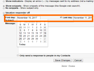 Gmail Settings Vacation Responder Select Start and End Date