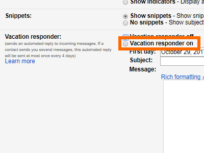 Gmail Settings Vacation Responder Tick