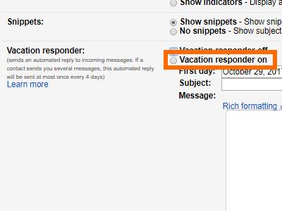 Gmail Settings Vacation Responder Tick