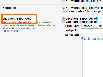 Gmail Settings Vacation Responder