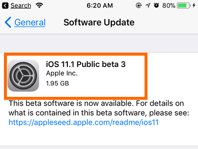 Settings General Software Update Version