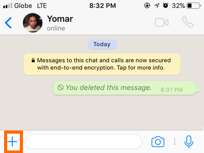 Whatsapp Chat Message Attach button