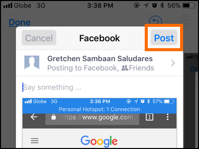 iPhone Edit Screenshot Post to Facebook