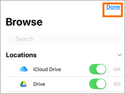 iPhone File Apps Locations Edit Choose App Done Button