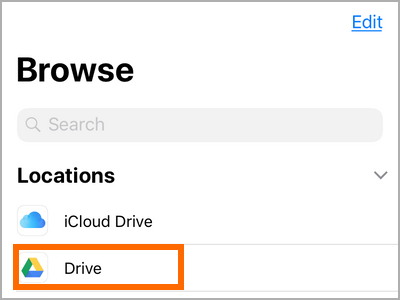 iPhone File Apps Locations Google Drive