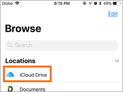 iPhone Files App Browse Tab iCloud Drive