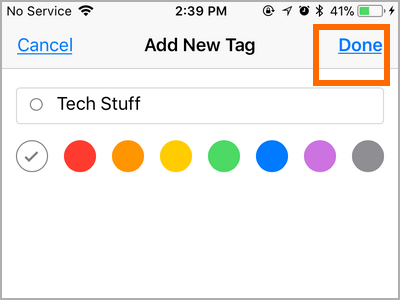 iPhone Files Choose New Tag Name - DOne