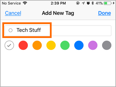 iPhone Files Choose New Tag Name