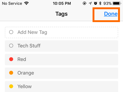 iPhone Files Touch and Hold Right Arrow Tags option Done Button