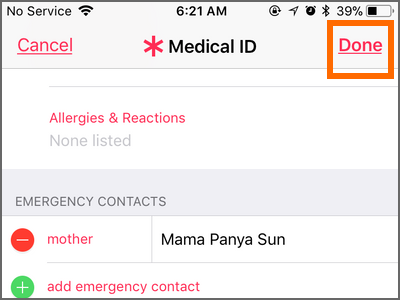 iPhone Health App Medical ID Add Emergency contacts DONE DONE
