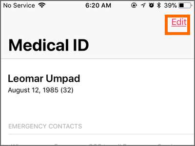 iPhone Health App Medical ID Edit Button