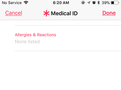iPhone Health App Medical ID Scroll Down to Buttoon
