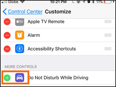 iPhone Settings Control Center Do Not Disturb While Driving