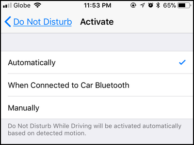 iPhone Settings Do Not Disturb Activate Choose Type
