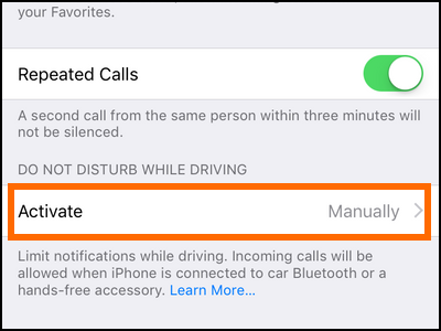 iPhone Settings Do Not Disturb Activate