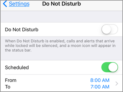 iPhone Settings Do Not Disturb Enabled