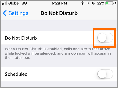 iPhone Settings Do Not Disturb Switch
