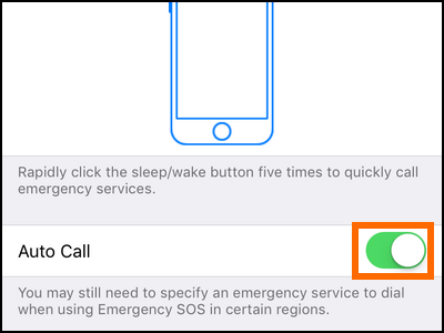 iPhone Settings Emergency SOS Auto Call