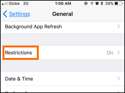 iPhone Settings General Restrictions