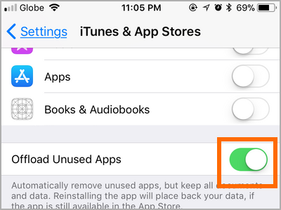 iPhone Settings iTunes and App Store Offload Unused Apps ENABLED