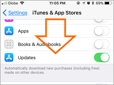 iPhone Settings iTunes and App Store Scroll Down