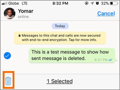iPhone Whatsapp Select Conversation Trashcan icon