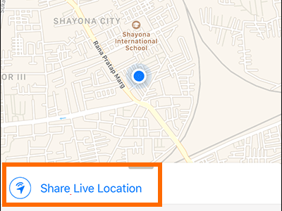 iPhone Whatsapp Share Live Location Button