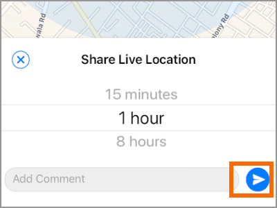 iPhone Whatsapp Share Live Location Send Button