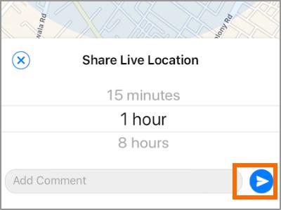 iPhone Whatsapp Share Live Location Send Button