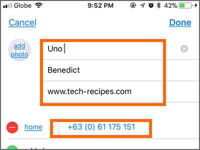 iPhone home Phone Contacts Add Contact Details