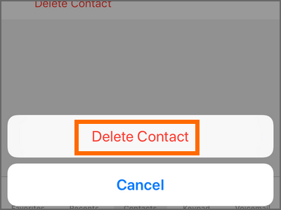 iPhone home Phone Contacts Choose Contact Edit Delete Contact Confirm