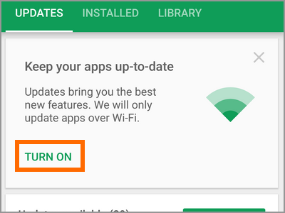 Android Playstore Apps and Games Keep Your Apps to Date Turn ON