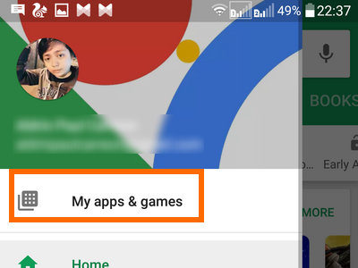 Android Playstore Menu My apps and Games