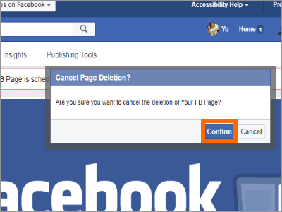 Cancel Facebook PAge Deletion Confirm
