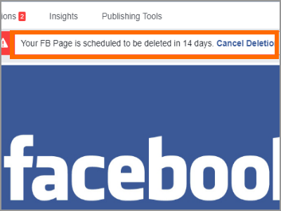 Cancel Facebook PAge Deletion