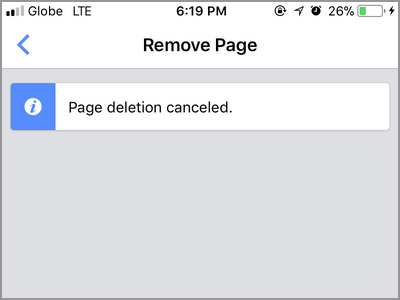Facebook Manager Cancel Page Deletion Cancelled