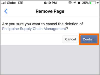 Facebook Manager Cancel Page Deletion Confirm