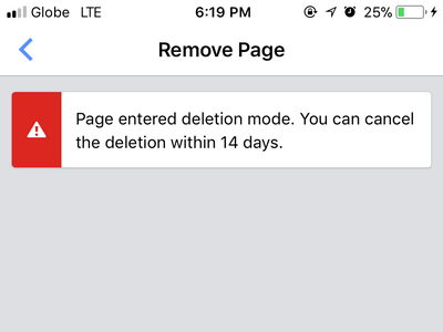 Facebook ManagerPage Settings Delete Page Confirmed