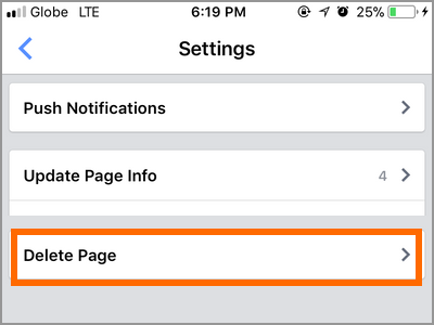 Facebook ManagerPage Settings Delete Page