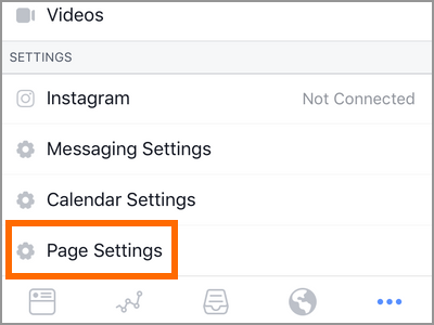 Facebook ManagerPage Settings