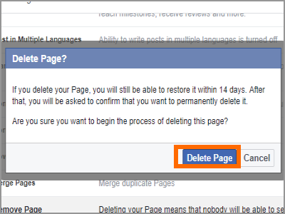 Facebook Page Settings General Remove Page Confirm Delete Page