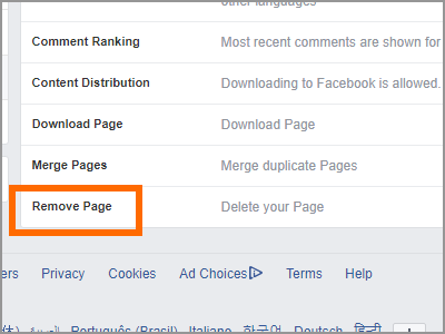 Facebook Page Settings General Remove Page