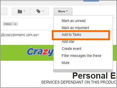 Gmail Choose Email More Add to Tasks