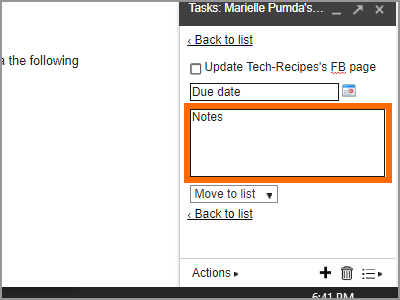 Gmail Menu Google Task Details Enter Notes